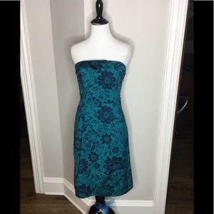 Maeve Strapless Floral teal/navy -Size 2